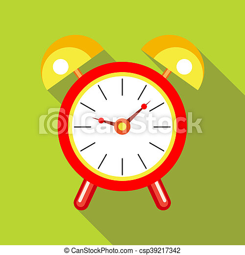 Red alarm clock icon in flat style - csp39217342