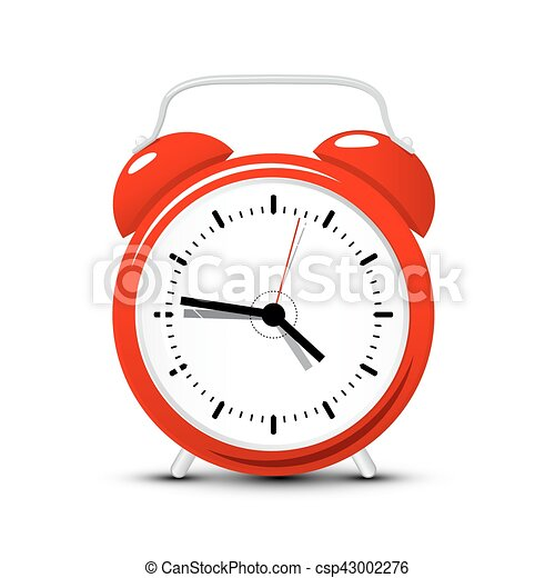 Red Alarm Clock. Vector Time Icon Isolated on White Background. - csp43002276