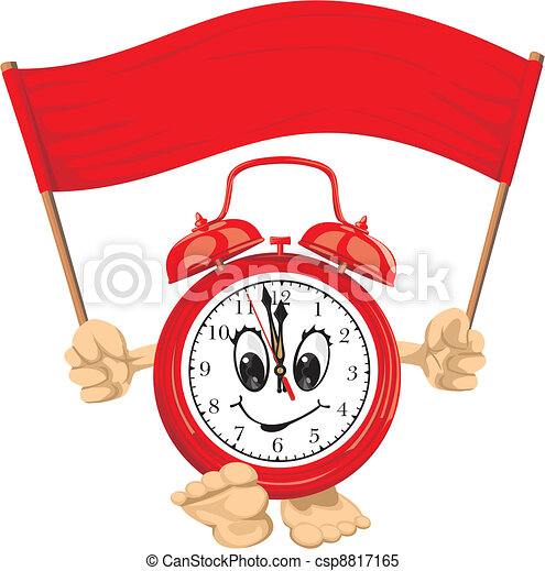 red alarm clock with banner clock face wake up time is clipart rh canstockphoto com Digital Clock Coloring Page Blank Digital Clock Clip Art