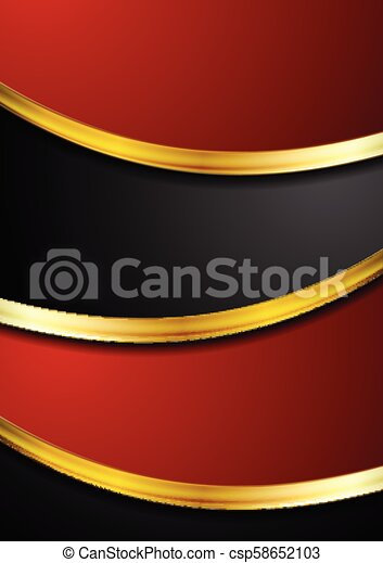 Red And Black Abstract Background With Golden Waves