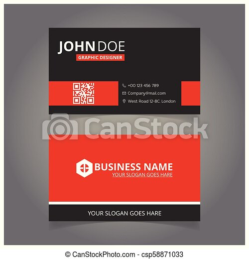 red and black business card - csp58871033