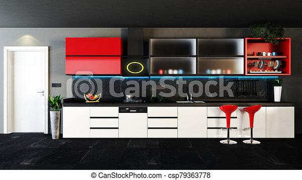 Red And Black Kitchen Design With Dark Interior Concept Decor Idea 3d Rendering Canstock
