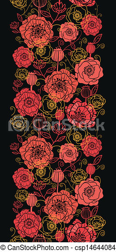 Red And Black Poppy Flowers Vertical Seamless Pattern Border Vector