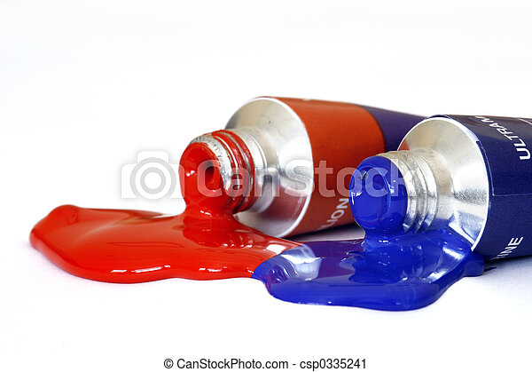 Red and Blue Acrylic Paint - csp0335241