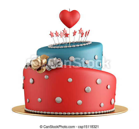 Red And Blue Birthday Cake With Candle In The Shape Of