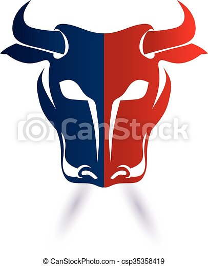 red and blue bull head vector graphic design vector clip art rh canstockphoto com blue bull symbol blue bull logo beer