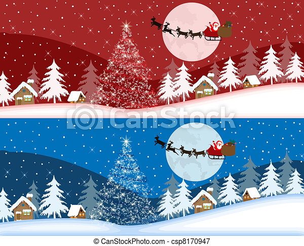 Red and blue christmas banners - csp8170947