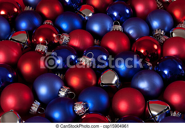 Patriotic Christmas Ornaments.Red And Blue Christmas Ornament Background