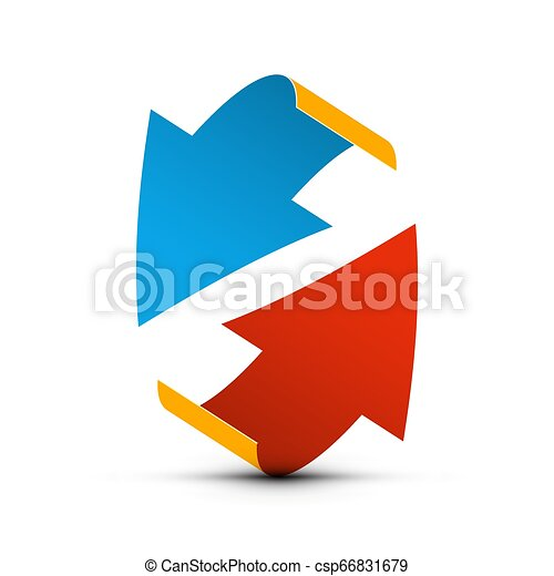 Red and Blue Paper Arrows. Up and Down Vector Arrow Concept. - csp66831679