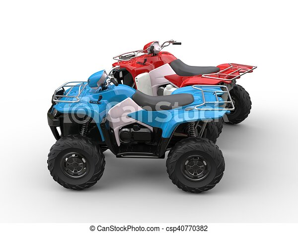 Red and blue quad bikes - side view - csp40770382