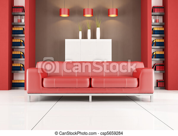 Red and brown contemporary living room. Red leather sofa in ...