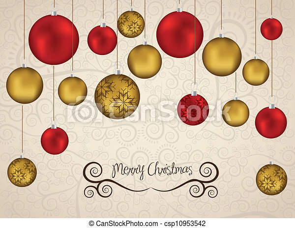 red and gold christmas balls - csp10953542