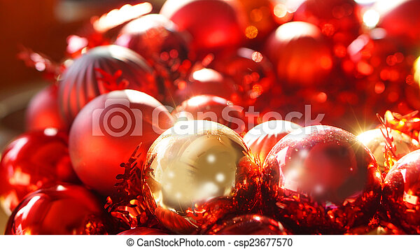 red and gold christmas ornaments picture csp23677570