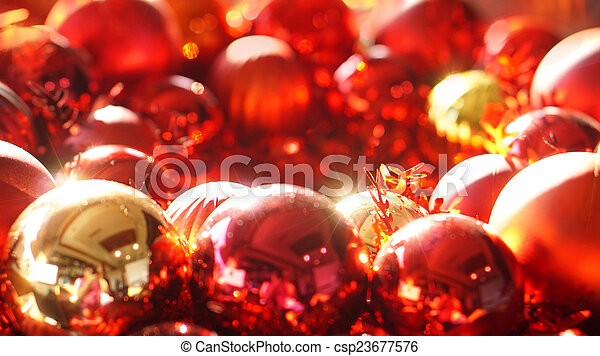 red and gold christmas ornaments picture csp23677576
