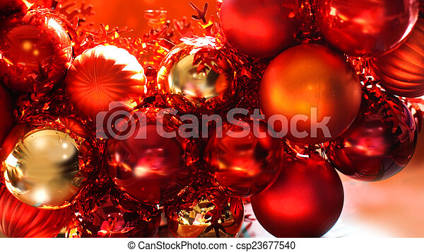 red and gold christmas ornaments stock photo csp23677540