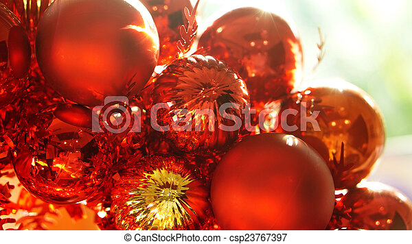 Christmas Ornaments Background.Red And Gold Christmas Ornaments Background