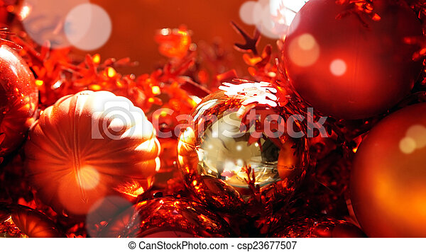 red and gold christmas ornaments stock photography csp23677507