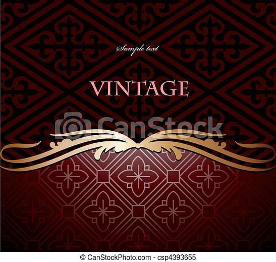 Red and gold floral background. Vector - csp4393655