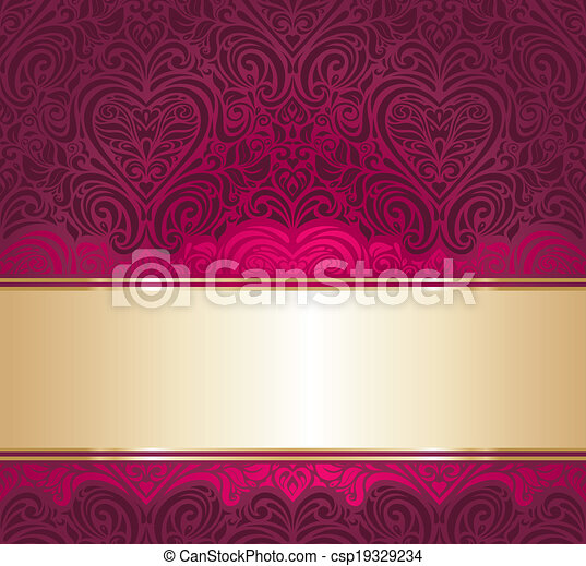 Red and gold invitation background. Red and gold vintage ...