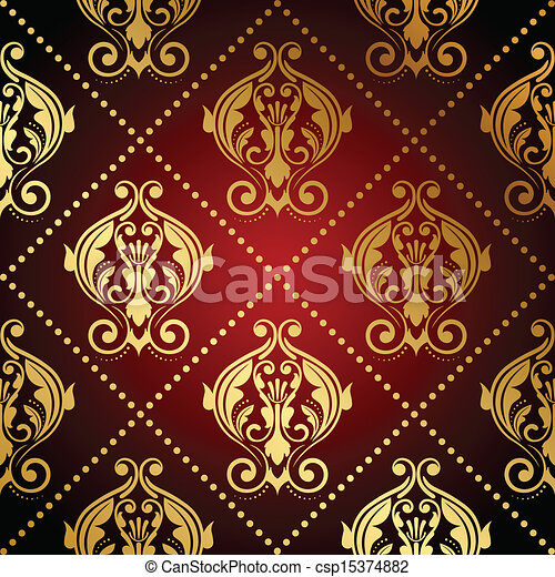 red and gold ornate wallpaper - csp15374882