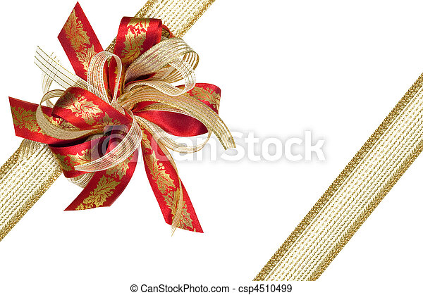 Red and Gold Ribbon Gift Bow - csp4510499