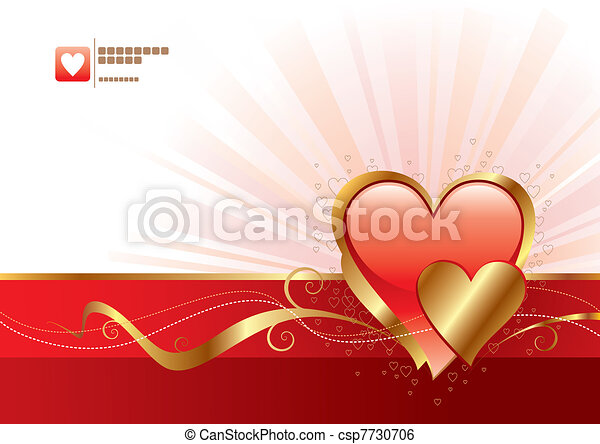 Red and gold Valentines heart - vector illustration - csp7730706