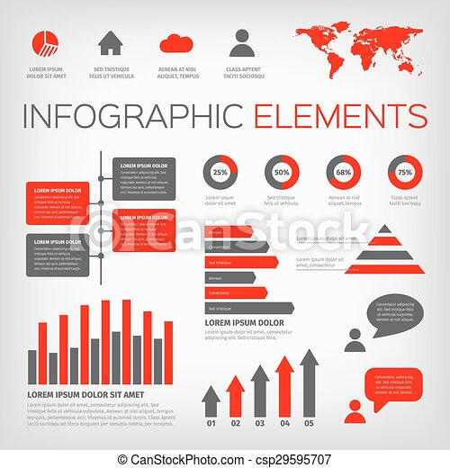 red and gray colour infographics - csp29595707
