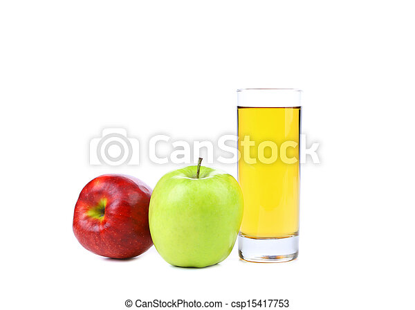red and green apple with juice isolated on white - csp15417753