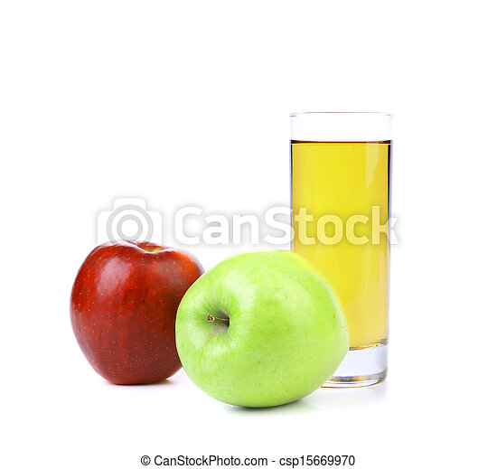 Red and green apples with juice - csp15669970