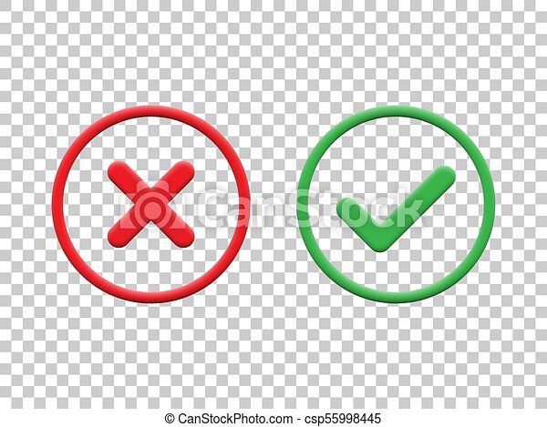 Red and green check marks isolated on transparent background  Vector check  mark icons