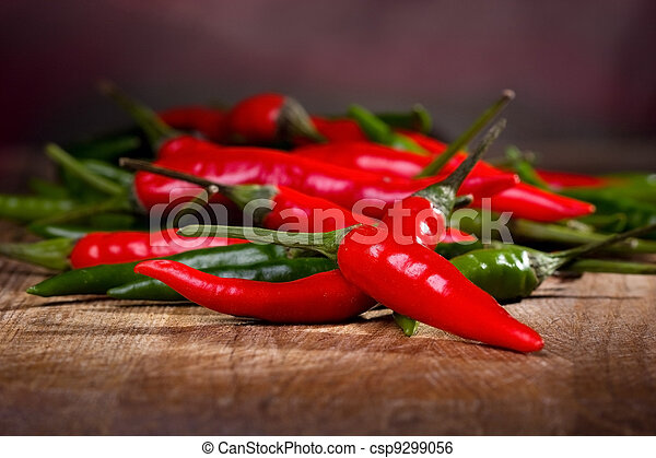 red and green chili pepper  - csp9299056