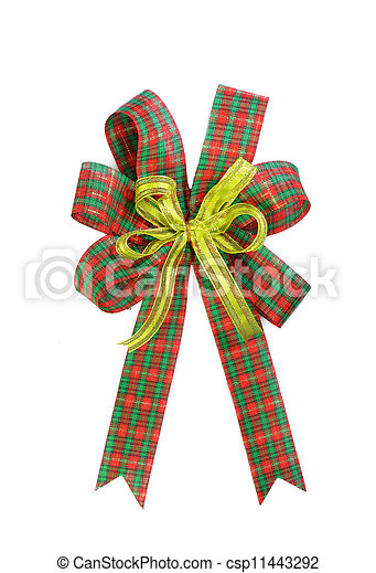 Red and green Christmas gift plaid bow - csp11443292