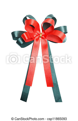 Red and green gift bow - csp11865093