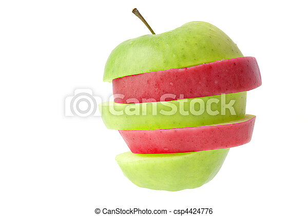 Red and green sliced apple - csp4424776
