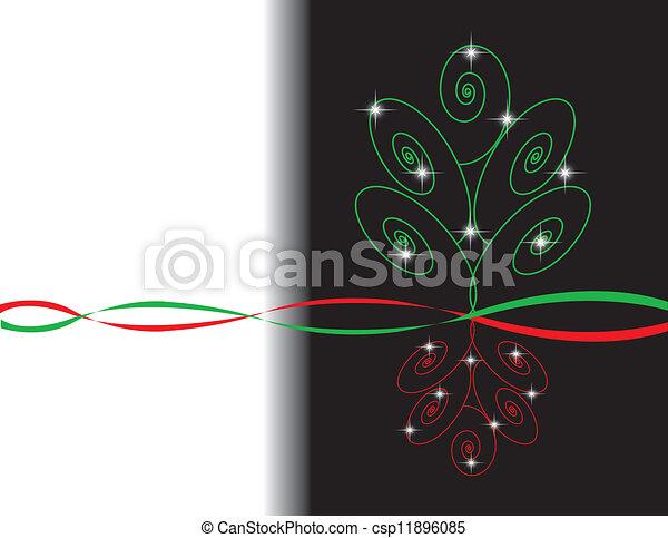 Simple Elegant Line Art : Red and green xmas tree design elegant yet simple
