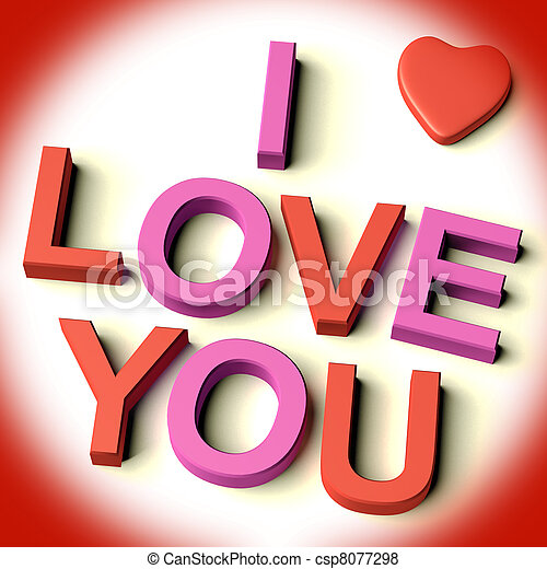 Red And Pink Letters Spelling I Love You With Heart As Symbol For