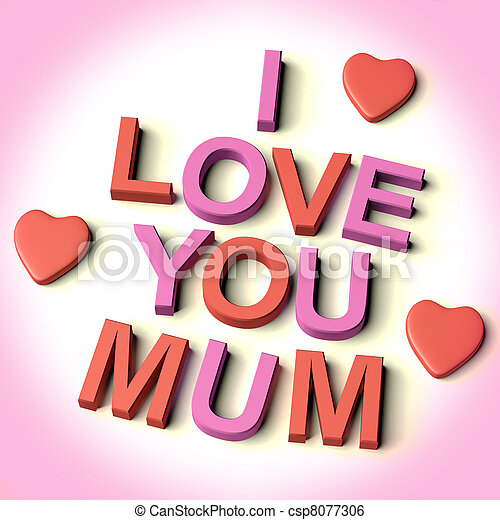 red and pink letters spelling i love you mum with hearts as stock