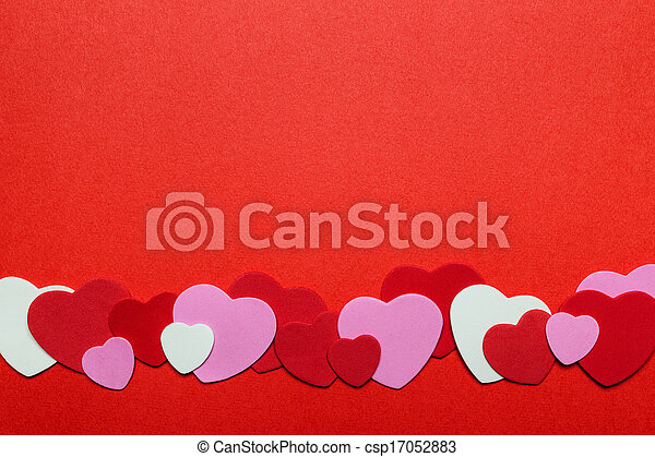 Red And Pink Valentines Day Hearts Background Border Of Romantic