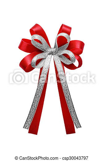 Red and silver ribbon bow isolated on white background. - csp30043797