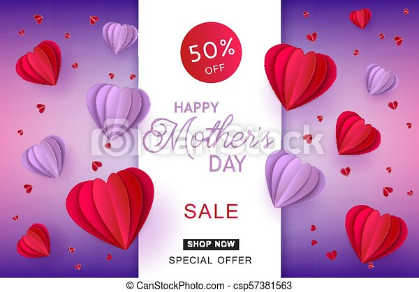 Red And Violet Hearts In Paper Art On Gradient Background For Mothers Day Sale Banner