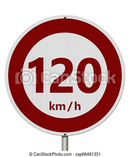 Red and white 120 km speed limit sign - csp66491331