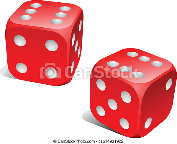 Red and white dice with double six roll.  - csp14931922