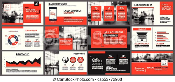 Marketing Leaflet Template | Red And White Element For Slide Infographic On Background