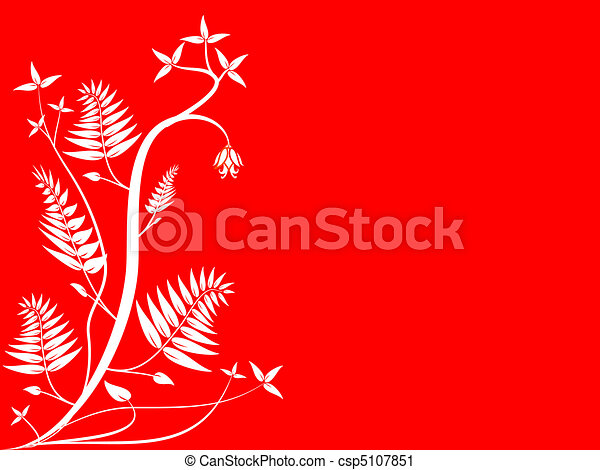 Red and White Floral Background - csp5107851