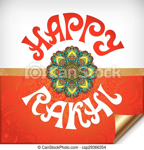Red and white happy rakhi greeting card for indian holiday raksha red and white happy rakhi greeting card csp29366354 m4hsunfo