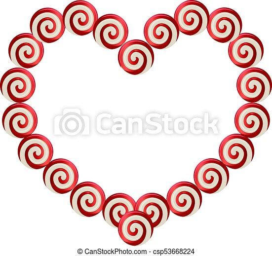 Red and white heart shaped frame made of lolipops with space for ...