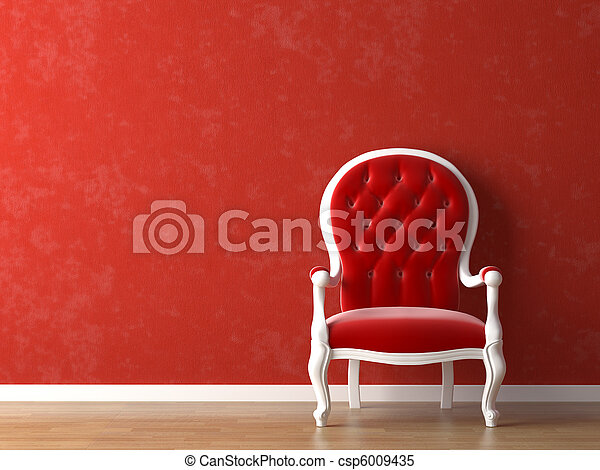 red and white interior design - csp6009435