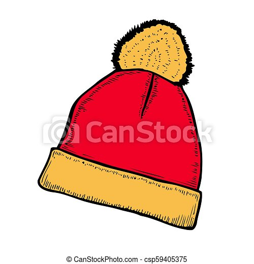 46b2da998d379 Red and white knitted hat icon in cartoon style on a white background.