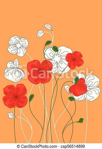 Red and white poppy flowers, floral background with poppies - vector ...