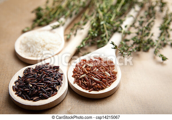 Red and white rice on wooden spoons - csp14215067